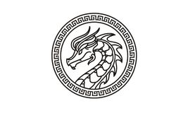 Dragon Badge Medallion Logo design inspiration. Classic, Antique, and easy to recognize. This is the right logo design for your company related to asia, asian Royalty Free Stock Photography
