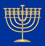 Classic antique gold candlestick, nine-branched candle holder, symbol of jewish feast of Hanukkah Stock Images