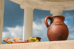 Classic antique still-life with bunch of grapes Stock Photos