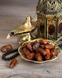 Classic arabic lamps, dates and rosary Royalty Free Stock Photography