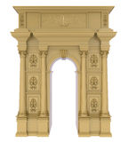 Classic arch with gilded columns and carvings. 3d render of Classic arch with gilded columns and carvings on a white background Stock Images