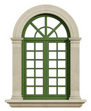 Classic arch window with stone frame Stock Photography