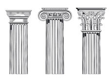 Classic architectural columns. Illustration of architectural columns in Ionic, Corinthian and Doric styles, white background royalty free illustration