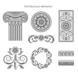 Classic architectural elements set. Vector Royalty Free Stock Image