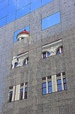 Classic architectural lines reflected in modern ones Royalty Free Stock Photos