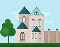 Classic architecture facade of a castle. Vector illustration background Stock Images