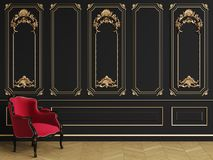 Classic armchair in classic interior with copy space royalty free stock image