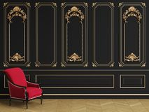 Classic armchair in classic interior with copy space royalty free stock photo