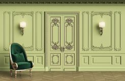 Classic armchair in classic interior with copy space. Walls with mouldings,ornated cornice. Floor parquet herringbone.Classic door with decoration.Sconces on royalty free illustration