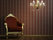 Classic armchair with lamp and golden details Stock Images