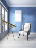 Classic armchair by the window with a Golden telescope and a whi Stock Image