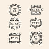 Classic art deco luxury minimal hipster geometric vintage vector monogram. Frame , border, badge, label, crest, or Vintage Insignias, vector design elements royalty free illustration