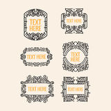 Classic art deco luxury minimal hipster geometric vintage vector monogram, frame , border, badge and label stock image