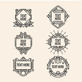 Classic art deco luxury minimal hipster geometric vintage vector monogram, frame , border, badge, label, crest, or Vintage Insigni Royalty Free Stock Photography