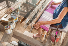 Classic asian loom at work Stock Images