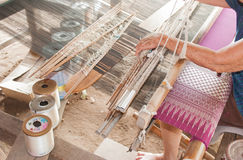 Classic asian loom at work Royalty Free Stock Images
