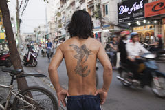 Classic asian tattoo. Classic adian tattoo for protection against evil spirits royalty free stock photo
