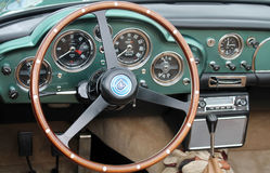 Classic aston martin interior. 1950s classic aston martin db interior dashboard and dials Stock Images