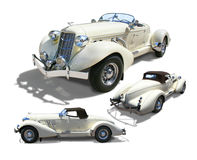 Classic Auburn Boattail Speedster- isolated. Auburn 852 Boattail Speedster Super-Charged 1936- Multiple view- 3/4 front, 3/4 rear, profile. Cream color, isolated Royalty Free Stock Image