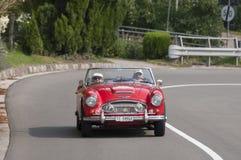 Classic Austin Healy on road, Merano, Italy Royalty Free Stock Image