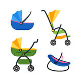 Classic Baby Carriage Set. Vector Royalty Free Stock Images