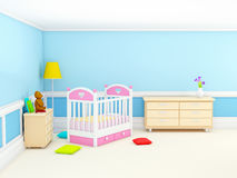 Classic baby room blue Stock Image