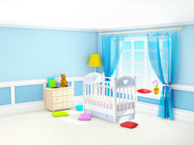 Classic baby room blue Royalty Free Stock Photos