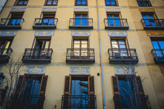 Classic balconies Madrid, oldest street in the capital of Spain, Stock Photos