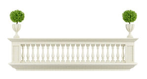 Classic balcony balustrade. Isolated on white - 3D rendering Royalty Free Stock Images