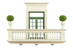 Classic balcony balustrade with window Royalty Free Stock Images