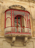 Classic balcony in malta. Window patio balcony architectural detail flowers malta europe Stock Images