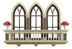 Classic balcony with triple lancet window Royalty Free Stock Images