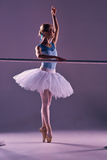 Classic ballerina posing at ballet barre Stock Photo
