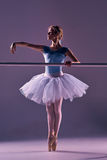 Classic ballerina posing at ballet barre Royalty Free Stock Photo