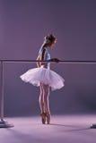 Classic ballerina posing at ballet barre Stock Image