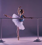 Classic ballerina posing at ballet barre Stock Photography