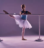 Classic ballerina posing at ballet barre Stock Photos
