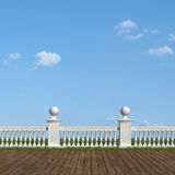 Classic balustrade and old wooden floor Stock Image