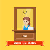 Classic bank teller window with a working clerk. Young woman cashier. Flat illustration. EPS 10 vector Stock Images