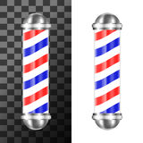 Classic barbershop pole. With red, blue and white stripes. Vector illustration Stock Photography