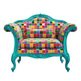 Classic baroque armchair in pop art style  isolated on white background Royalty Free Stock Photos