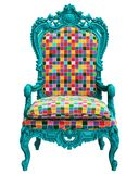Classic baroque armchair in pop art style isolated on white background stock photos