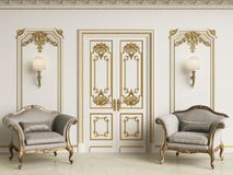 Classic baroque armchais in classic interior. Walls wth moldings and decorated cornice. Marble floor.Digital illustration.3d rendering royalty free illustration
