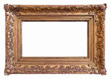 Classic Gold Plated Picture Frame with Path. Classic Baroque Gold Plated Wooden Picture Frame with Path stock photography