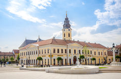 Classic baroque Greek-Catholic Church and the classicist Kovats House in Oradea Royalty Free Stock Images