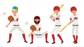 Classic Baseball Player Vector. Classic Uniform. Different Action Poses. Flat Cartoon Illustration Stock Image