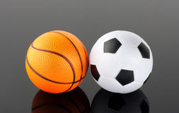 Classic basketball and football Royalty Free Stock Photo