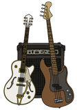 Classic and bass electric guitars. Hand drawing of classic white and brown bass electric guitars with the combo Stock Image