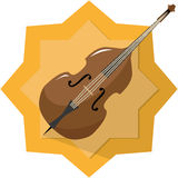Classic bass. Illustration with yellow badge background Stock Images