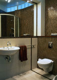 Classic bathroom. With large mirror stock photography